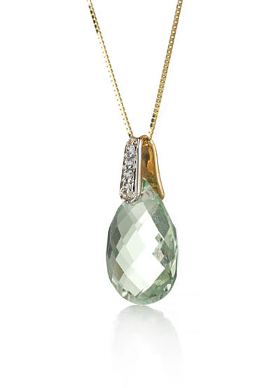 Belk & Co. 14k Yellow Gold Green Quartz and Diamond Pendant