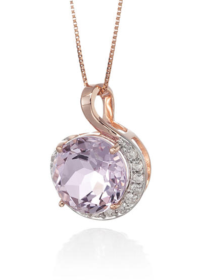 Belk & Co. 14k Rose Gold Pink Amethyst and Diamond Pendant