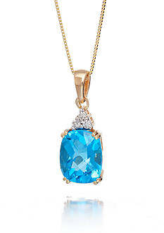 Belk & Co. Blue Topaz and Diamond Accent Pendant in 14k Yellow Gold