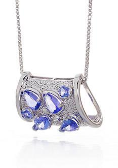 Belk & Co. Sterling Silver Tanzanite and Diamond Barrel Pendant