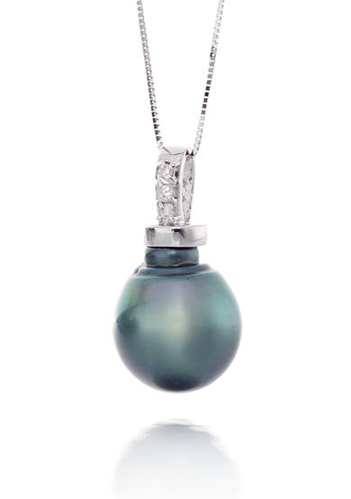Belk & Co. Tahitian Baroque Pearl and Diamond Pendant in 14k White Gold