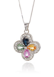 Belk & Co. 14k White Gold Multi Color Sapphire and Diamond Cross Pendant