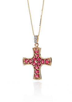 Belk & Co. 14k Yellow Gold Ruby and Diamond Cross Pendant