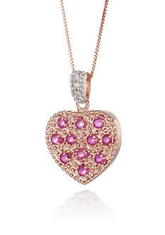Belk & Co. 14k Rose Gold Ruby and Diamond Heart Pendant