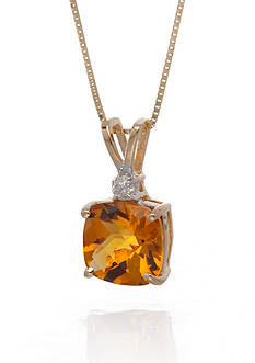 Belk & Co. 14k Yellow Gold Citrine and Diamond Pendant