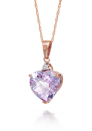 Belk & Co. Pink Amethyst and Diamond Accent Pendant in 14k Rose Gold
