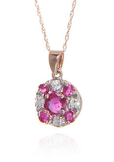 Belk & Co. Ruby and Diamond Pendant in 14k Rose Gold