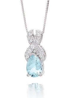 Belk & Co. Aquamarine Gemstone and Diamonds Pendant Set 14K White Gold