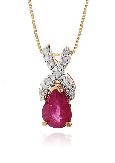 Belk & Co. 14k Yellow Gold Ruby and Diamond Pendant