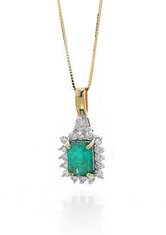 Belk & Co. 14k Yellow Gold Emerald and Diamond Pendant