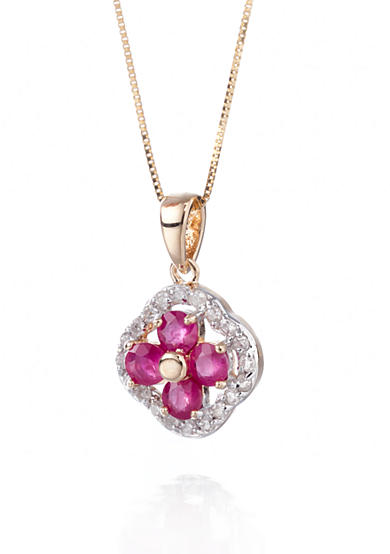 Belk & Co. 14k Yellow Gold Ruby and Diamond Clover Pendant