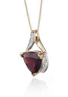 Belk & Co. 14k Yellow Gold Garnet and Diamond Pendant