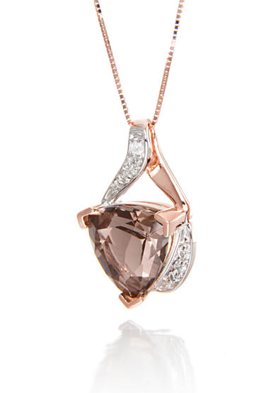 Belk & Co. Smoky Quartz and Diamond Pendant Necklace in 14k Rose Gold