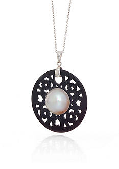 Belk & Co. White Freshwater Pearl and Black Agate Pendant in Sterling Silver
