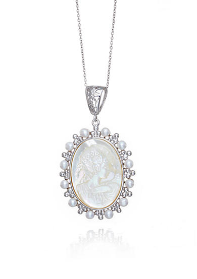 Belk & Co. Sterling Silver Mother of Pearl and Cultured Freshwater Pearl Cameo Pendant