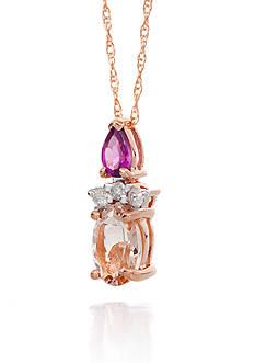Belk & Co. Morganite, Rhodolite Garnet and Diamond Pendant in 14k Rose Gold