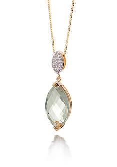 Belk & Co. Mint Quartz and Diamond Accent Pendant in 14k Yellow Gold