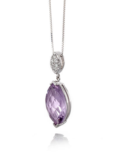 Belk & Co. 14k White Gold Pink Amethyst and Diamond Pendant