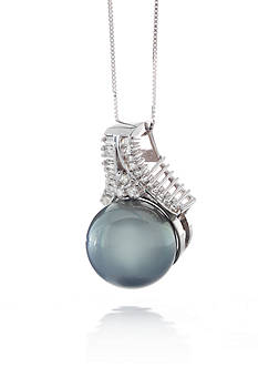 Belk & Co. 14k White Gold Cultured Tahitian Black Pearl and Diamond Pendant