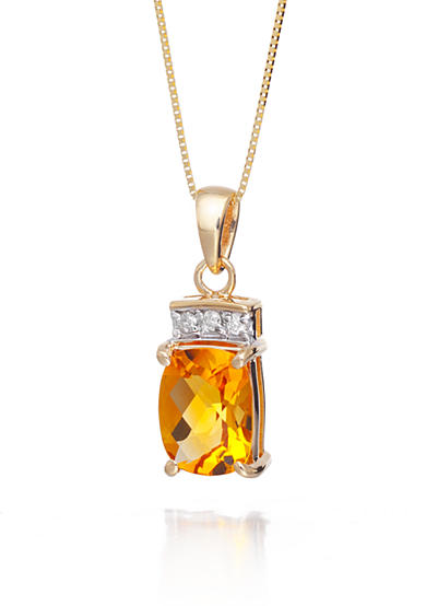 Belk & Co. Citrine and Diamond Accent Pendant in 14k Yellow Gold