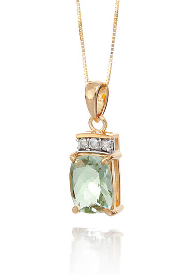 Belk & Co. 14k Yellow Gold Mint Quartz and Diamond Pendant