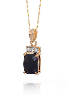 Belk & Co. Onyx and Diamond Pendant in 14k Yellow Gold