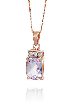 Belk & Co. Pink Amethyst and Diamond Pendant in 14k Rose Gold