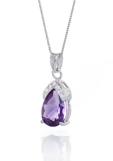 Belk & Co. Amethyst and Diamond Accent Pendant in 14k White Gold