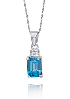 Belk & Co. London Blue Topaz and Diamond Accent Pendant in 14k White Gold