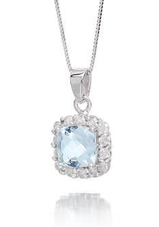 Belk & Co. Aquamarine Cushion Gemstone with Halo Diamonds Pendant Set in 14K White Gold