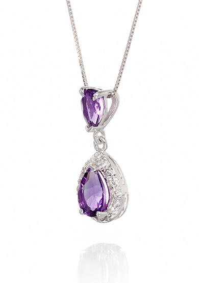 Belk & Co. Amethyst and Diamond Pendant in 14k White Gold