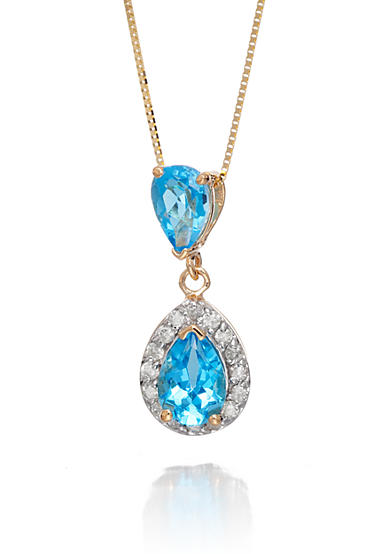 Belk & Co. Blue Topaz and Diamond Pendant in 14k Yellow Gold