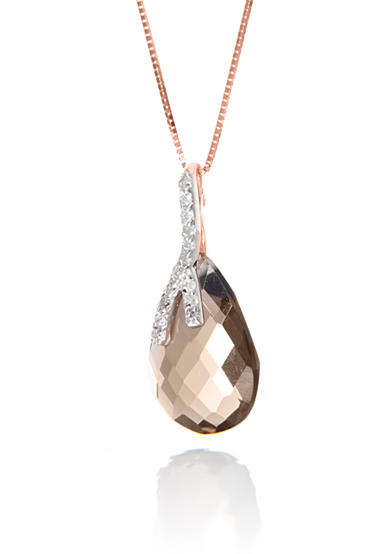 Belk & Co. Smoky Quartz and Diamond Pendant Necklace Set in 14k Rose Gold