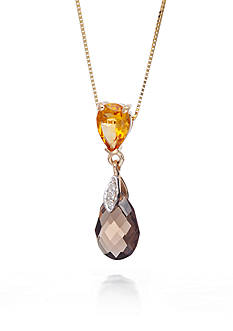 Belk & Co. Citrine, Smoky Quartz, and Diamond Accent Pendant in 14k Yellow Gold