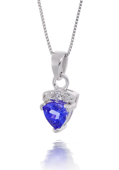 Belk & Co. Tanzanite and Diamond Pendant Necklace in 14k White Gold