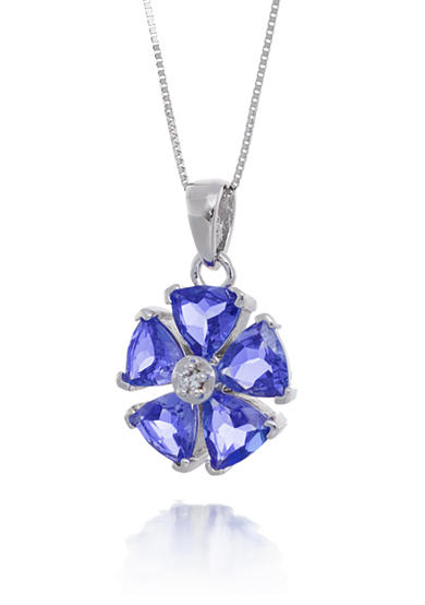 Belk & Co. Tanzanite and Diamond Flower Pendant Necklace in 14k White Gold