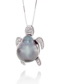 Belk & Co. 14k White Gold Tahitian Baroque Pearl and Diamond Turtle Pendant