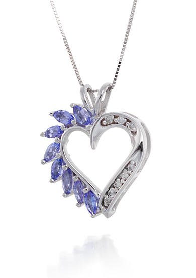 Belk & Co. Tanzanite and Diamond Heart Pendant Necklace in 14k White Gold