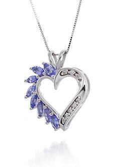 Belk & Co. Tanzanite and Diamond Heart Pendant Necklace in 14k White Gold