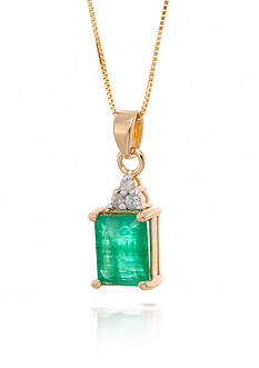 Belk & Co. Emerald and Diamond Pendant Necklace in 14k Yellow Gold