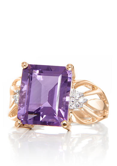Belk & Co. Amethyst and Diamond Ring in 14k Yellow Gold