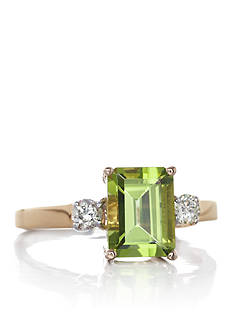 Belk & Co. 14k Yellow Gold Peridot and Diamond Ring