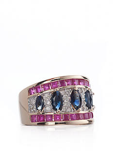 Belk & Co. 14k Yellow Gold Ruby, Sapphire, and Diamond Ring