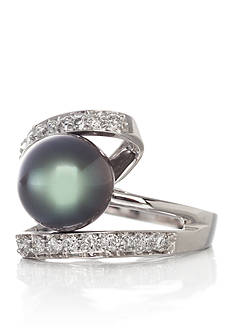Belk & Co. 14k White Gold 8-9mm Tahitian Pearl and Diamond Ring