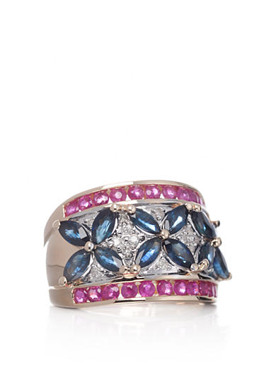 Belk & Co. 14k Yellow Gold Ruby, Sapphire, and Diamond Band