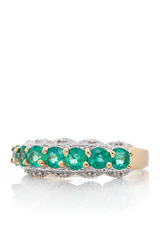 Belk & Co. Emerald and Diamond Accent Band in 14k Yellow Gold