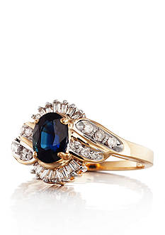 Belk & Co. 14k Yellow Gold Sapphire and Diamond Ring