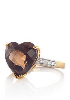 Belk & Co. 14k Yellow Gold Smokey Quartz and Diamond Heart Ring