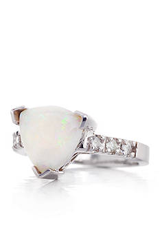 Belk & Co. 14k White Gold Opal and Diamond Ring
