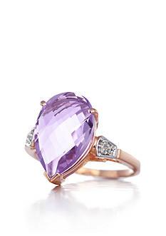Belk & Co. 14k Rose Gold Pink Amethyst and Diamond Ring